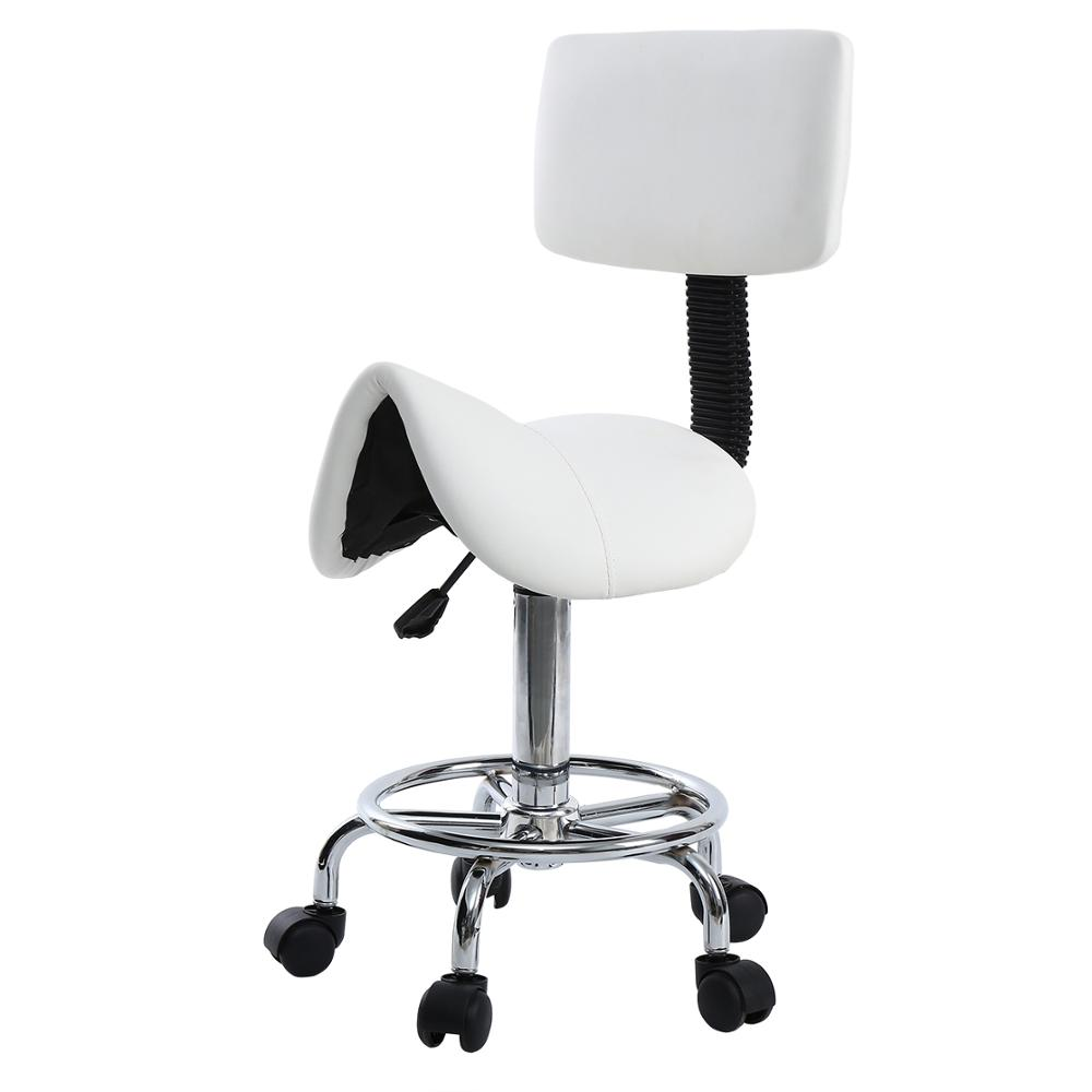 Saddle Chair Roll Stool Chair Saddle PU Leather Dentist Spa Rolling Stool With Back Support For Cosmetic Beauty Tattoo