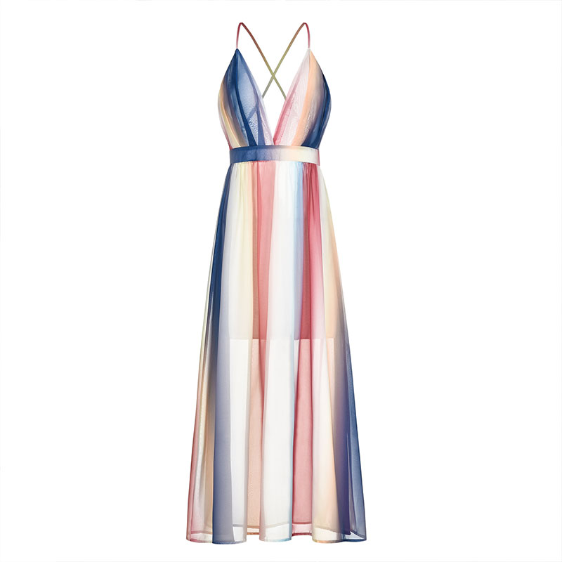 2019 New Summer Maxi Dress Fashion Women Backless Cross Strap Big Swing Dress Striped Dress in Dresses from Women 39 s Clothing