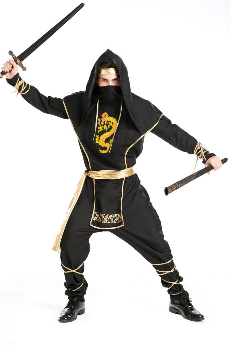 Haute qualité beau Cool Ninja noir Cosplay Costume adulte homme Halloween jeux partie guerrier vêtements martiaux pour les garçons