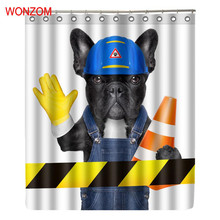 WONZOM 3D Polyester Fabric Dog Curtains Bathroom With 12 Hooks Waterproof Accessories For Decor 2017 Modern Animal Bath Curtain