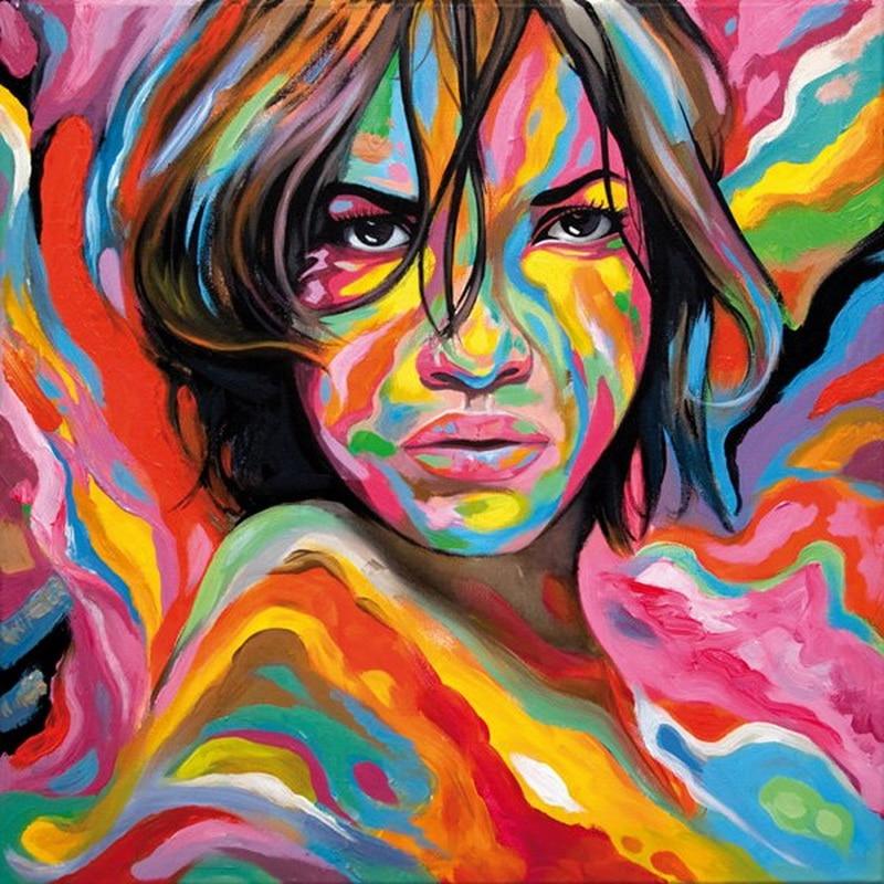 Colorful Art: Modern Painting Grafitti Art Colorful Girl Portrait On Oil