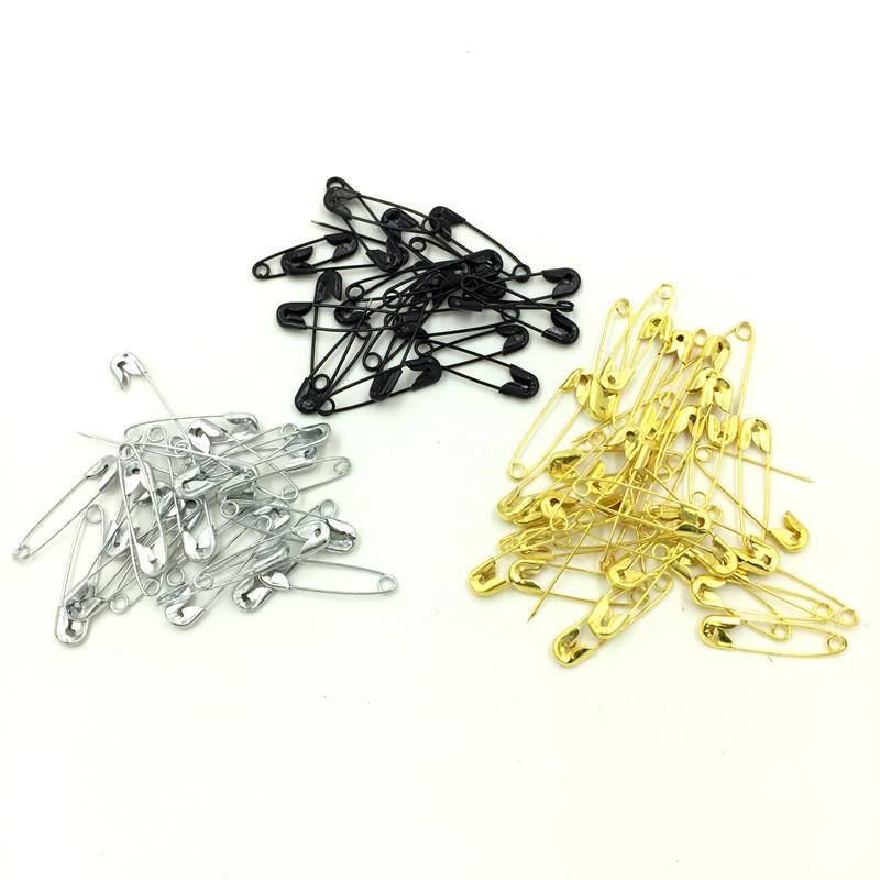 2000Pcs DIY Metal Safety Pins Brooches Crafts Scrapbook Making 22mm, Gold Plated/Silver Tone/Black