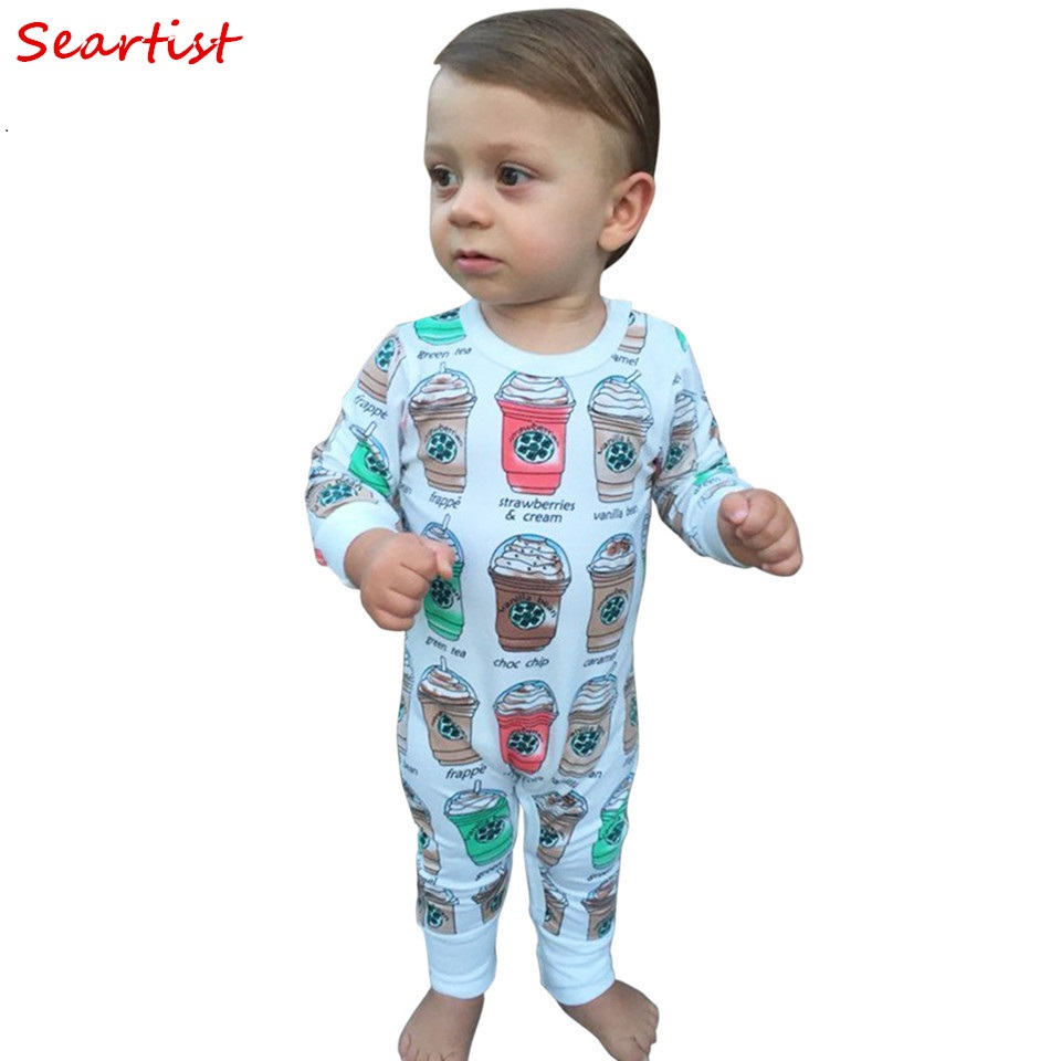 Seartist Baby Girls Boys Romper Newborn Cotton Coffee Cup Jumpsuit Toddler Autumn Rompers Infant Jumper 2018 New Arrival 38C