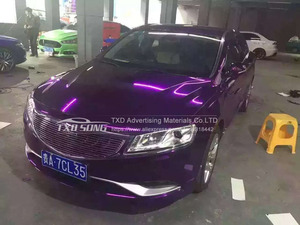 Image 3 - 50CM*100/200/300/400/500CMPremium High stretchable Mirror purple Chrome Mirror flexible Vinyl Wrap Sheet Roll Film Car Vinyl