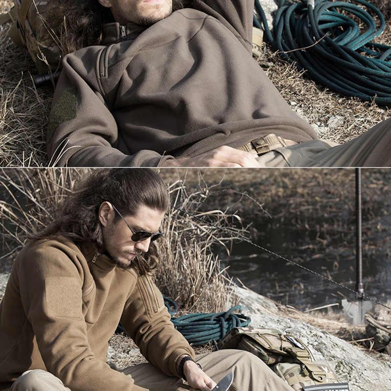 を無料の兵士屋外スポーツ戦術フリース生地男性のコートのためのキャンプハイキング上着冬服