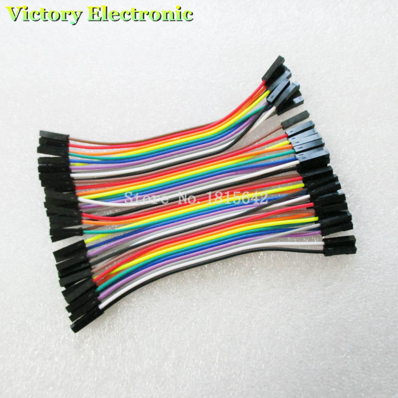 40pcs/lot 10cm 2.54mm 1pin Female To Female Jumper Wire Dupont Cable