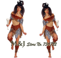 Free Shipping The Christmas Festival A Halloween Party Bar Huntress Leopard Grain Savage Costume Party Supplies