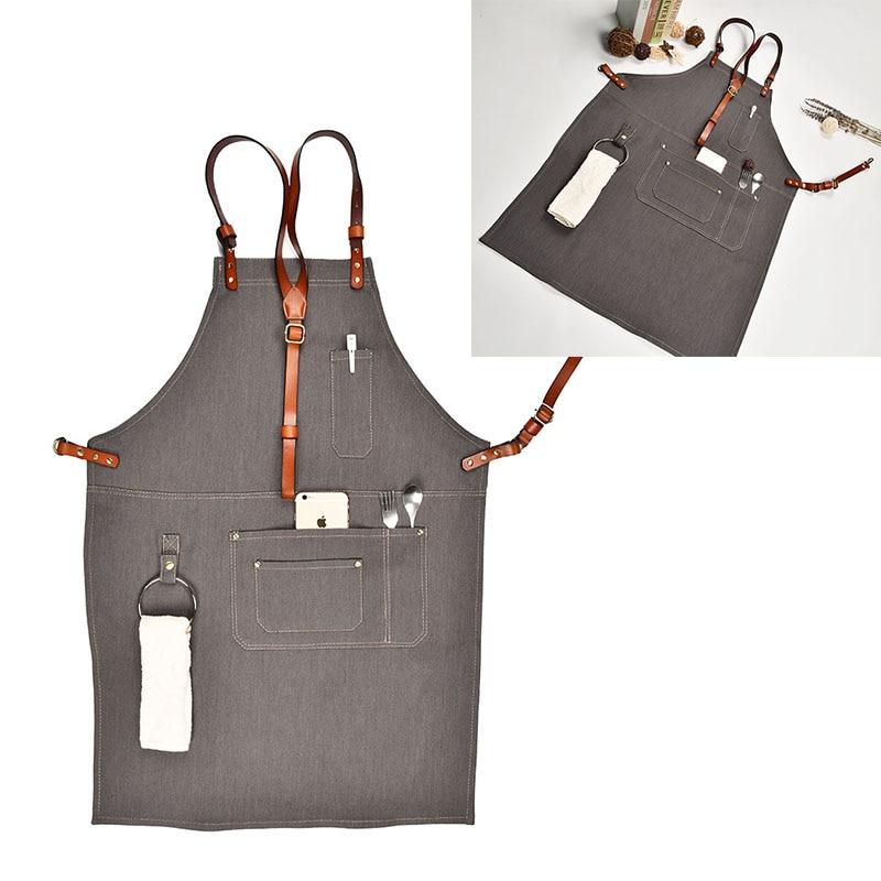 Denim Kitchen Cooking Apron with Adjustable Cotton Strap Large Pockets Blue Barista Men and Women Homewear