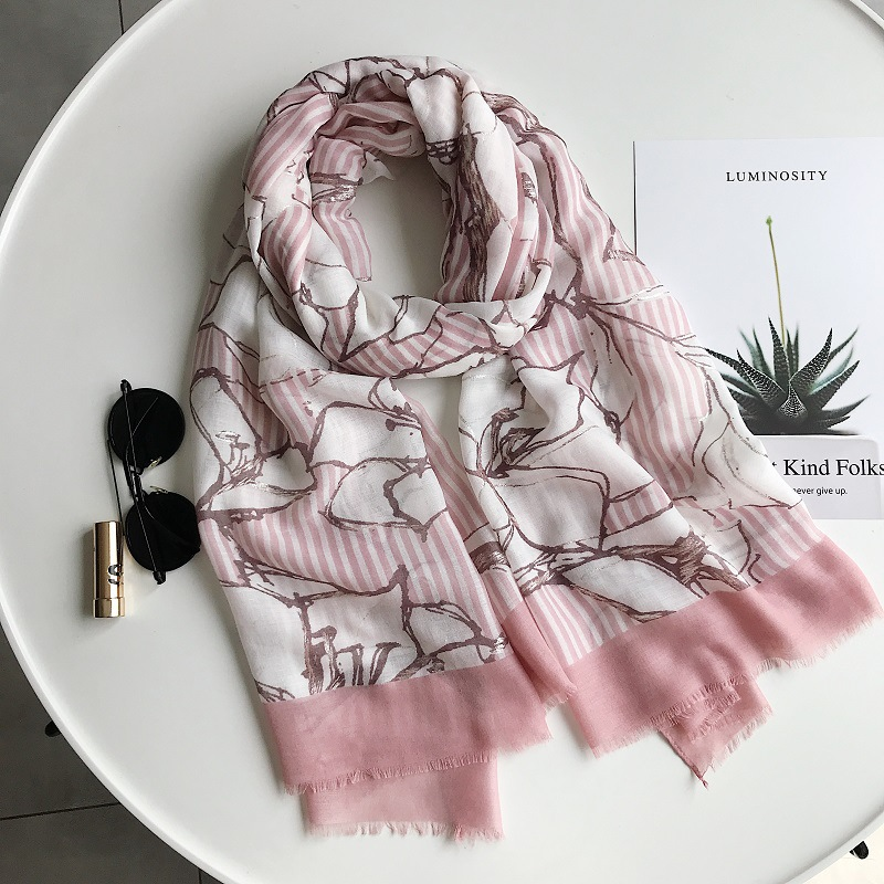 2019 New Rose Stripe Print Silver Foil Scarves Shawl Cotton Trendy Luxury Scarf Wrap Hijab Wholesale10pcs/lot Free Shipping