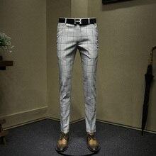 mens dress pants light grey plaid Korean style slim fit casual long pants spring new arrivals wedding groom wear business pant