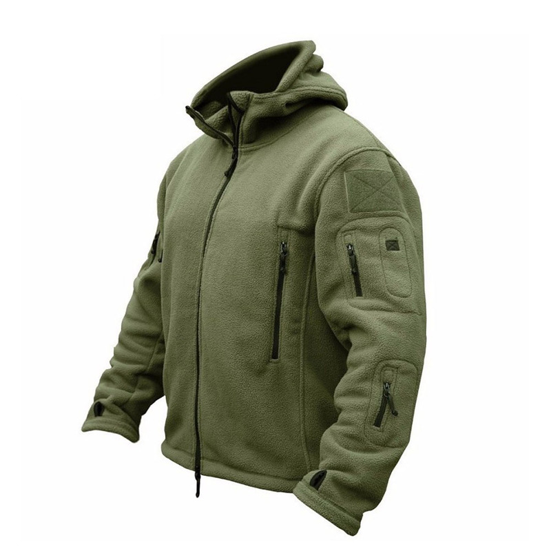 ZOGAA Men Military Bomber Jacket Coat Fleece Tactical Overcoat Male Outdoor Hooded Zipper Solid Thermal Outwear Jackets Coats