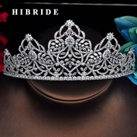 HIBRIDE Brand Big Tiaras And Crown For Bridal AAA Cubic Zircon Pave Engagement Headband Hair Accessories For Party Gifts C 48