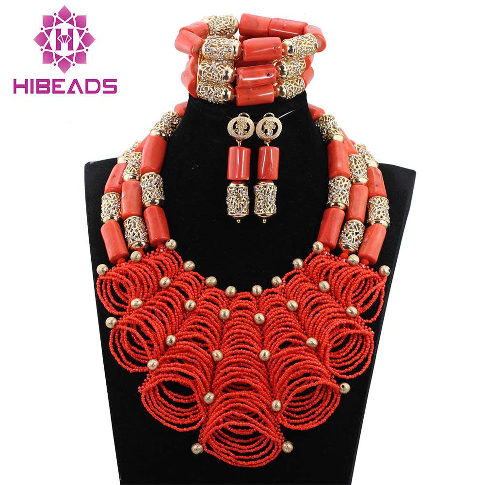 Luxury Nigerian Wedding Coral Beads for Brides Queen Bridal Party African Jewelry Sets QW1073Luxury Nigerian Wedding Coral Beads for Brides Queen Bridal Party African Jewelry Sets QW1073
