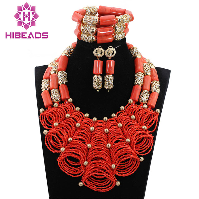 Luxury Nigerian Wedding Coral Beads for Brides Queen Bridal Party African Jewelry Sets QW1073