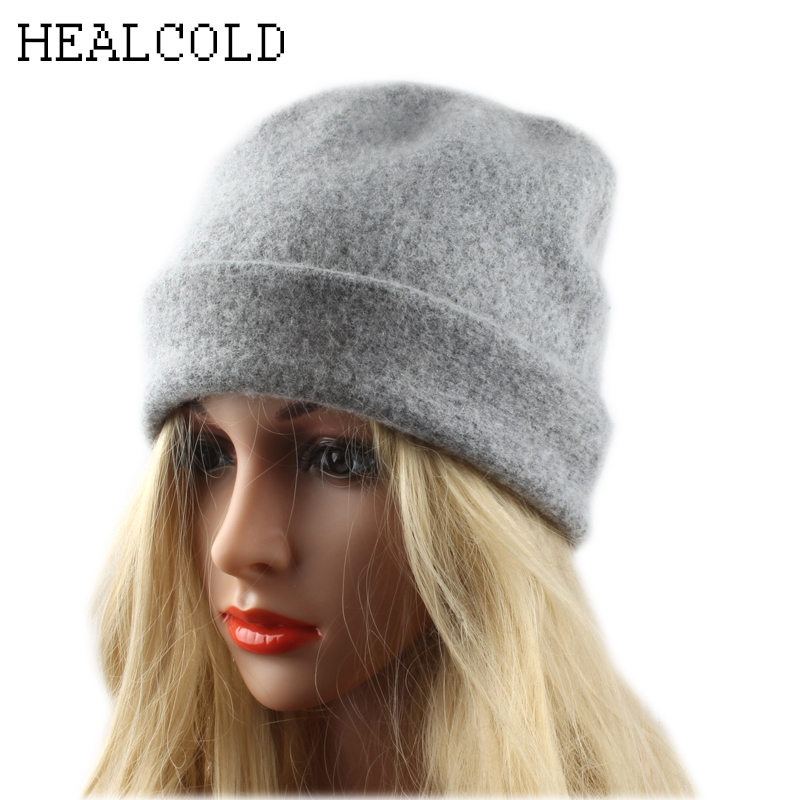 2018 Fashion Winter Hats For Women 100% Wool   Skullies   Hat Ladies   Beanies   Casual Warm Knitted Cap