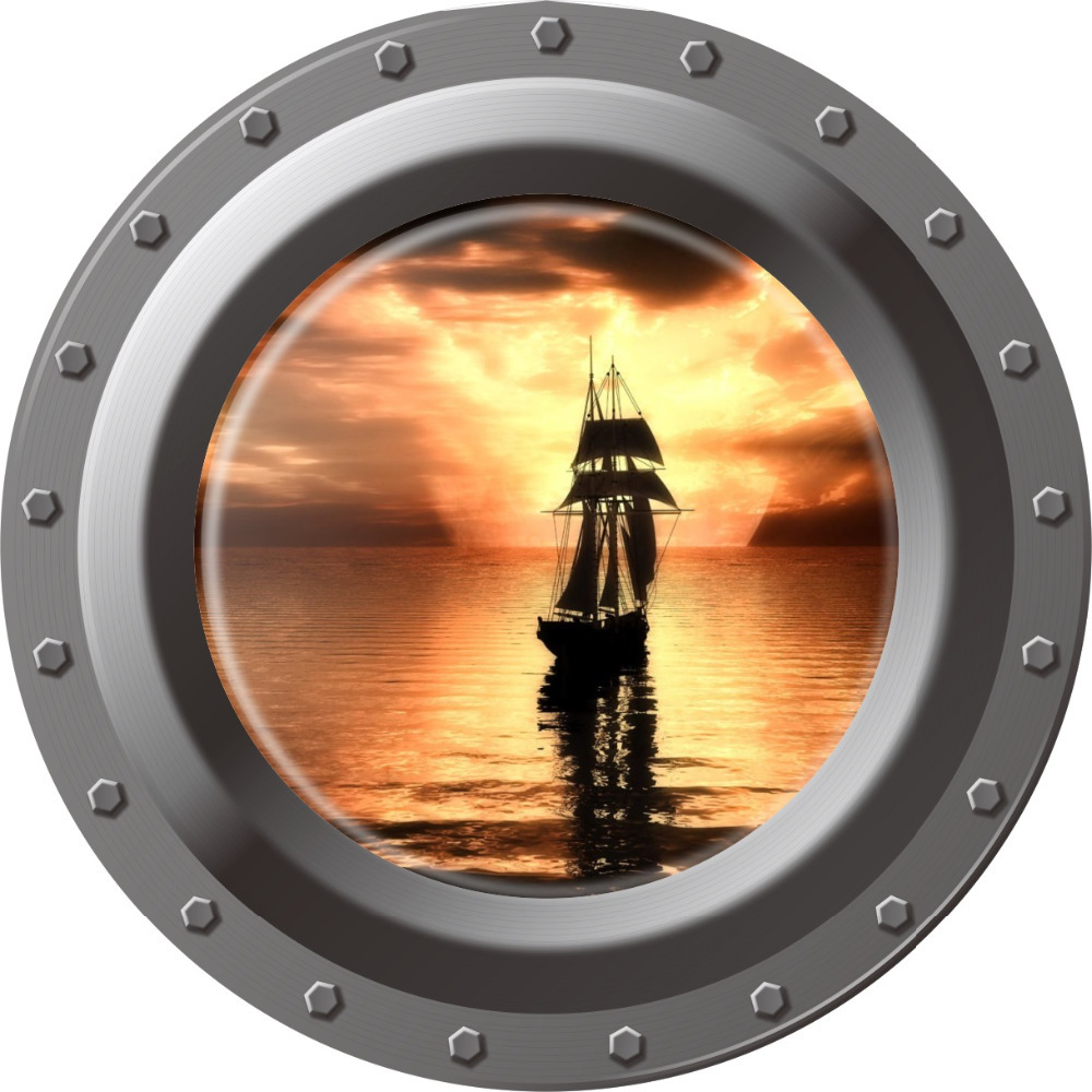 3d Ocean View window Submarine Wall Sticker Decals Porthole Graphics Sea Portal Peel stick Sea Cruise Wall Art kids Room Decor