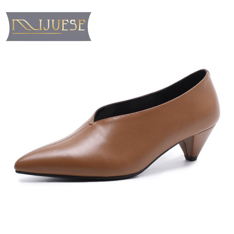MLJUESE 2018 women pumps cow leather autumn spring brown color pointed toe retro shoes slip on spike heel high heels pumps newest metal leaves high heel pumps pointed toe slip on women wedding dress shoes 2018 spring autumen bride heels pumps