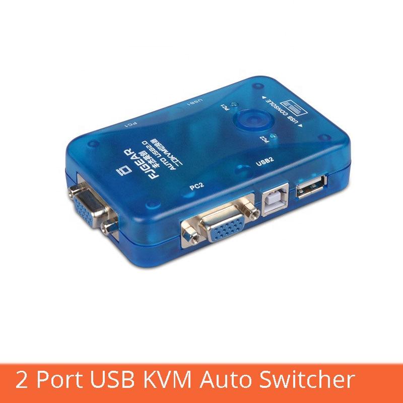 VGA KVM Switch 2 PORT USB PS2 Keyboard Mouse Switcher Box Keyboard Hotkey Switch