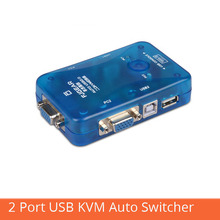 2 port USB KVM auto switcher two in one out vga hotkey switch 2 hosts share a set of mouse and keyboard display FJ-102UK