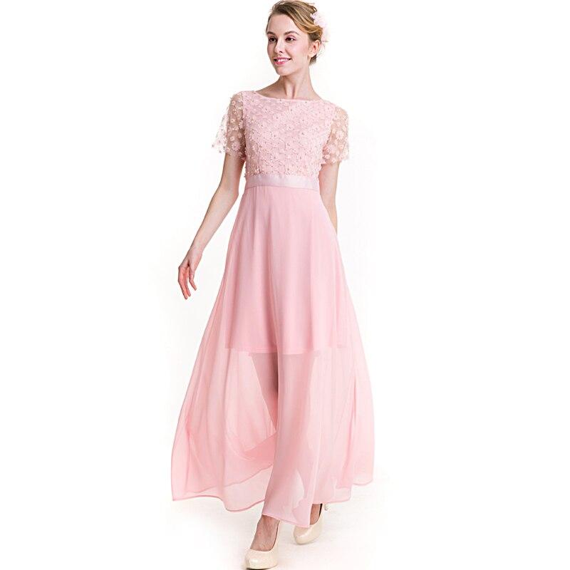 Rosa verano Vestido de Encaje de Gasa Para Mujeres de Talla grande ...