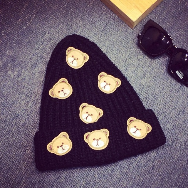 Cute cartoon bear ms qiu dong the day man with thick warm knitting wool hat sets pointed cap