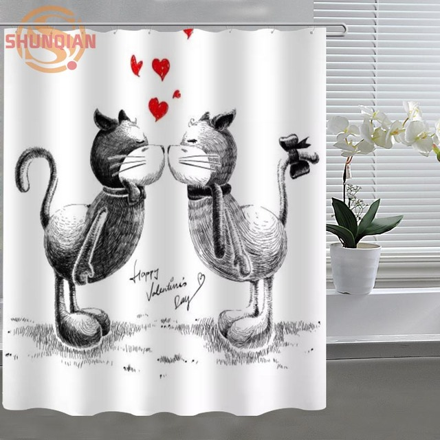 Kiss Couple Romantic Shower Curtain Eco Friendly Modern Fabric Polyester Custom Home Decor