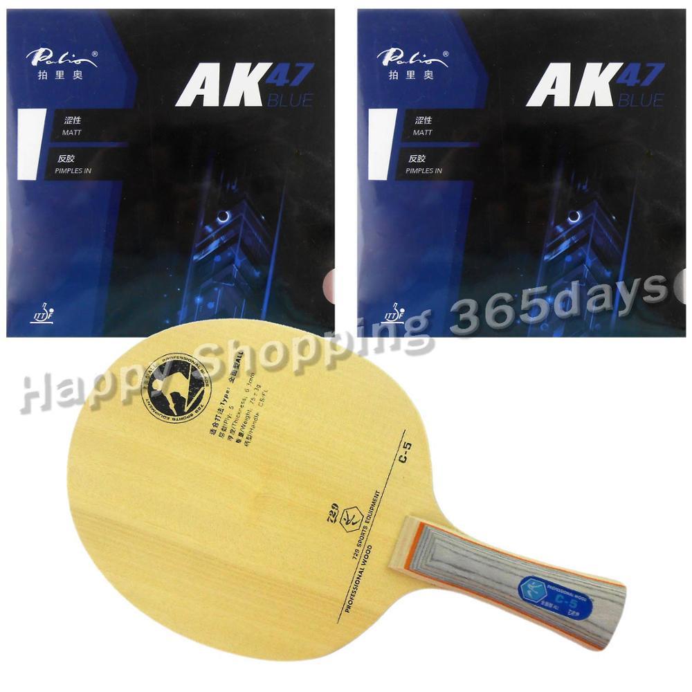 Pro Combo Racket Paddle RITC 729 Friendship C-5 Blade with 2x Palio AK47 BLUE Matt Rubbers paris combo