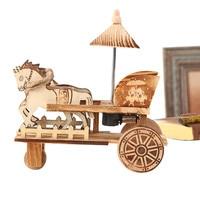 Retro Wooden Carriage Handicrafts Home Decoration Antique Music Box Desktop Decor Wood Music Boxes Figurines