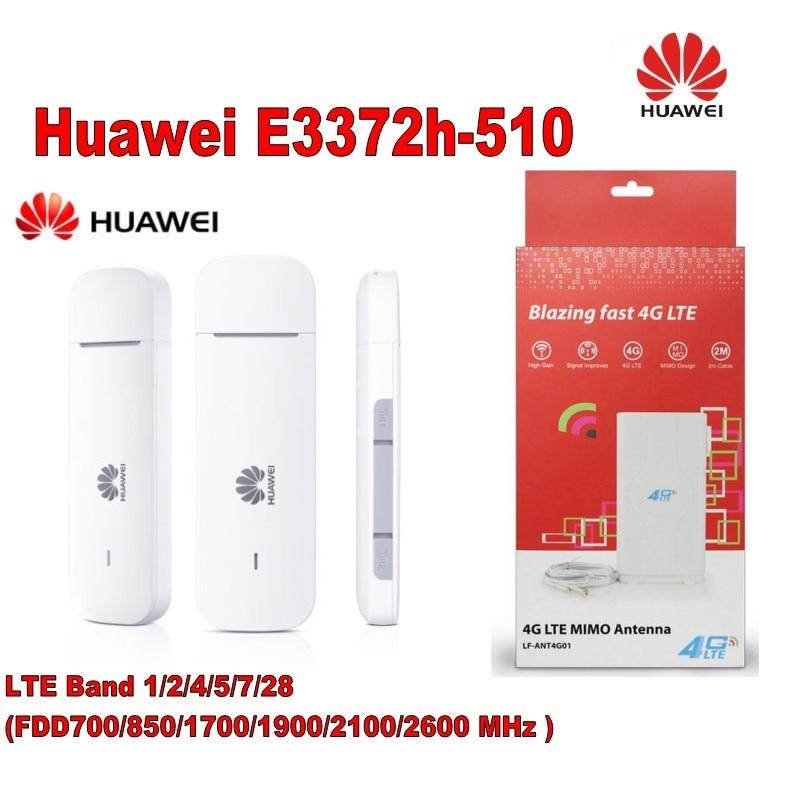 (+49dbi 4g CRC9 antenna )Unlocked Huawei E3372 E3372h-510 USB 4G LTE 150Mbps 4G LTE USB Dongle original unlocked huawei e3372 m150 2 lte fdd 150mbps 4g lte modem support lte fdd 800 900 1800 2100 4g crc9 49dbi dual antenna