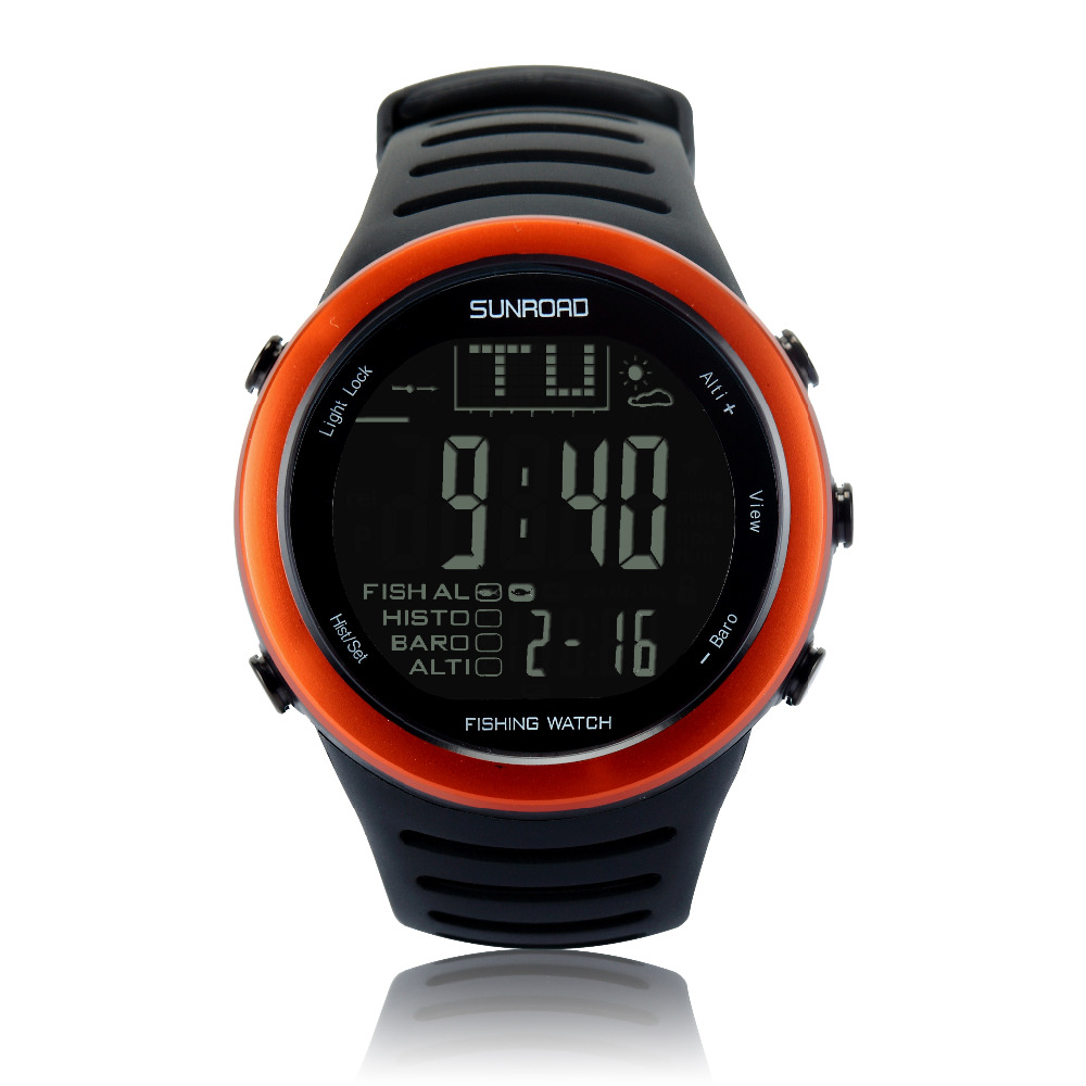 SUNROAD Men s Sports Digital Watch FR720A Hiking Barometer Altimeter Thermometer Weather Forecast Waterproof Watches Orange