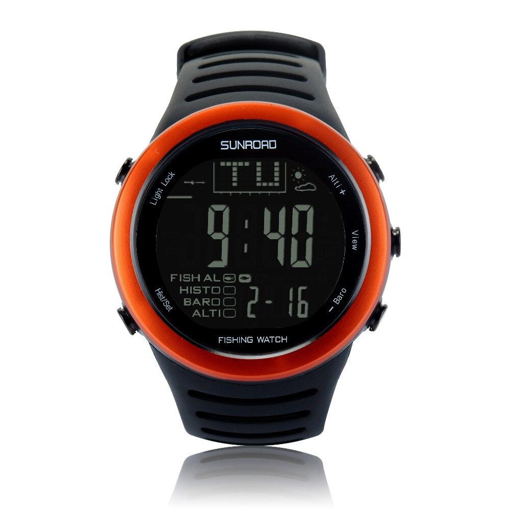 SUNROAD กีฬาผู้ชายดิจิตอลนาฬิกา FR720A เดินป่า Barometer เครื่องวัดระยะสูงเครื่องวัดอุณหภูมิพยากรณ์อากาศนาฬิกากันน้ำ (สีส้ม)-ใน นาฬิกาข้อมือดิจิตอล จาก นาฬิกาข้อมือ บน   1