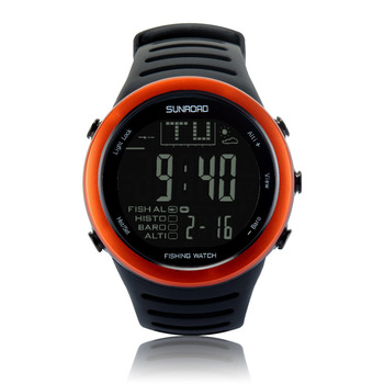 SUNROAD Men's  Sports  Digital Watch FR720A Hiking Barometer Altimeter Weather Forecast Waterproof Watches (Orange) sunroad fishing barometer watch fr720a men altimeter thermometer weather forecast 50m waterproof stopwatch smart watch black