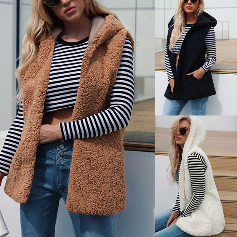 Womens Warm Open Stitch Faux Fur Vests Fleece Jackets Winter Hooded Waistcoats Ladies Casual Sleeveless Coats Outwears