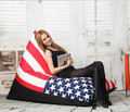 USA flag lazy bag for adult bean bags outdoor bean bag sofa chair COVER only supply without filler 35.4x57x24 inches