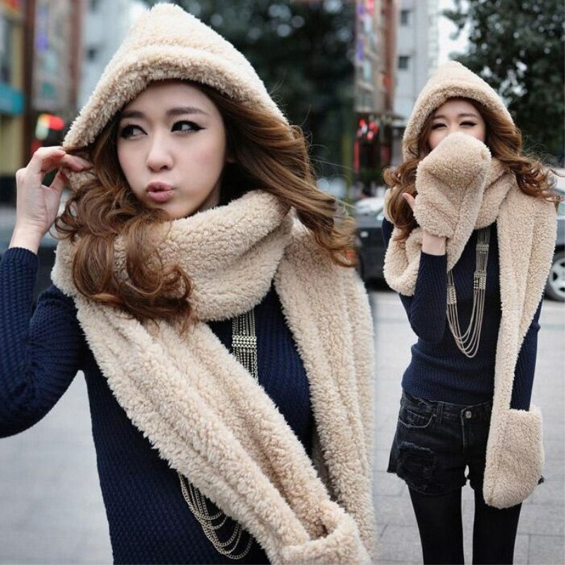 2017 Women Long Hat Scarf Cap Hand Keep Warm Piece Fashion Glove Hooded Fur Scarf Collar Winter Cute Gift Plush Wrap Stole Shawl