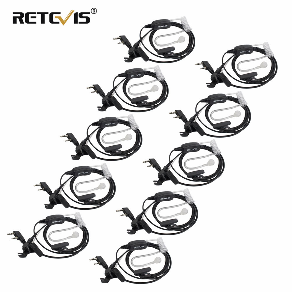 10pcs Retevis 2Pin PTT VOX MIC Earpiece Air Acoustic Tube Headset For Kenwood/Baofeng UV-5R BF-888S/TYT Walkie Talkie Accessorie