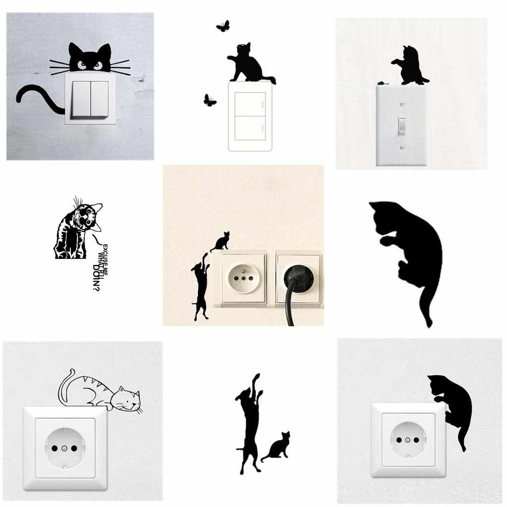 Cute Cat Wall Switch Sticker Home Decor Decal Home Decoration Sticker Wall Sticker Decal