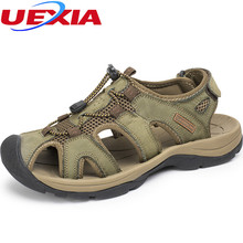 Plus Size 38-46 Men Sandals Leather Zapatos Fashion Summer Shoes Outdoor Hallow Slippers Breathable Sandals Causal Shoes Leather