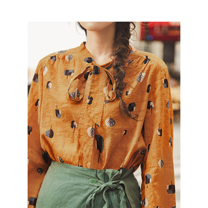 Image 4 - INMAN Spring Autumn Viscose Cotton Soft Print Pretty Lacing Literary Elegant Verstand Women Blouse