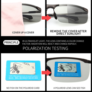 Image 5 - 2019 מותג Photochromic משקפי שמש גברים מקוטב זיקית שינוי צבע שמש משקפיים לגברים אופנה מרובעים ללא מסגרת משקפי שמש