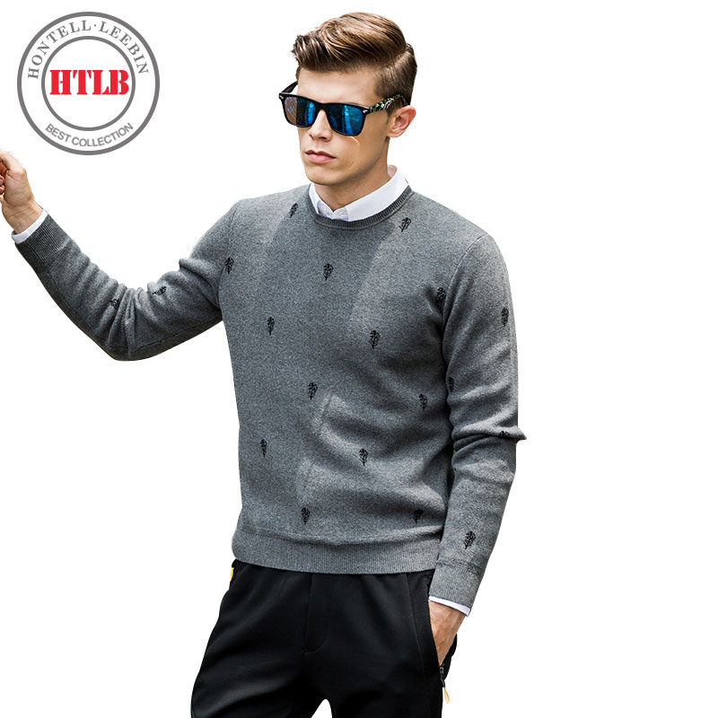 HTLB 2017 Brand Clothing Mens Sweaters Fashion Casual Shirt 100% Cotton Pullover Men Pull O-Neck Cashmere Sweater Men