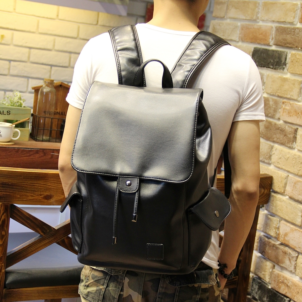 Men S Pu Leather Backpack Male Bookbag
