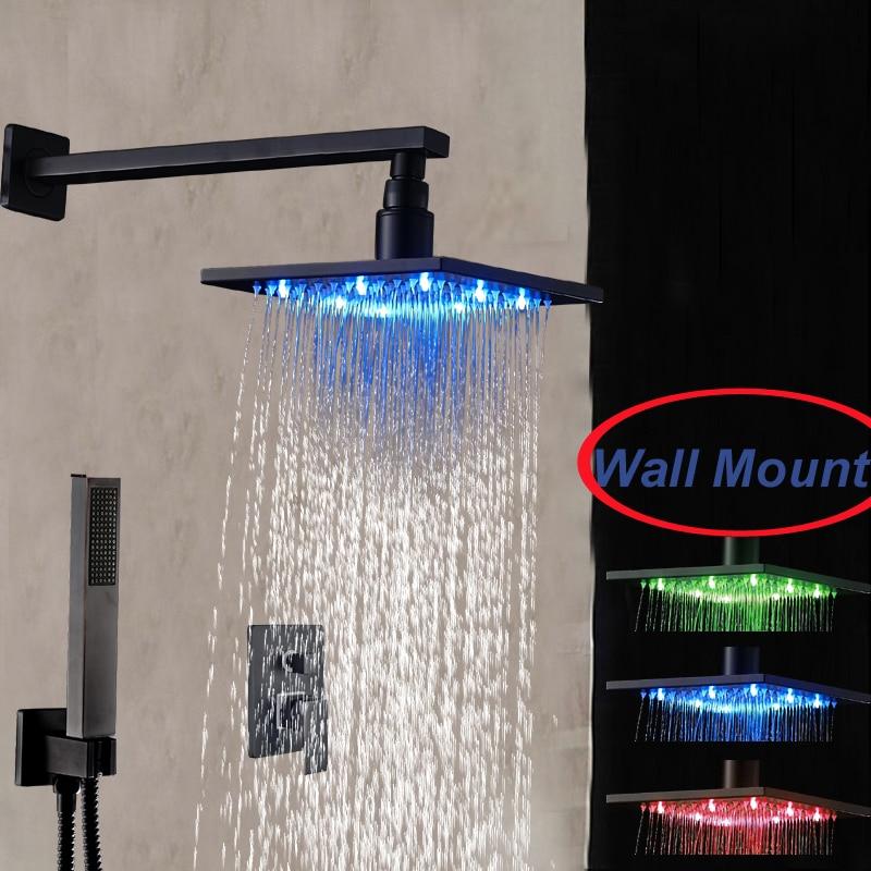 LED Wall Mounted Rain Shower Head Sprayer W/ Hand Shower Single Handle Valve