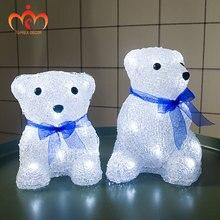 Batteries Led bear light christmas ornament polar lighting gift home decoration lights indoor xmas tree