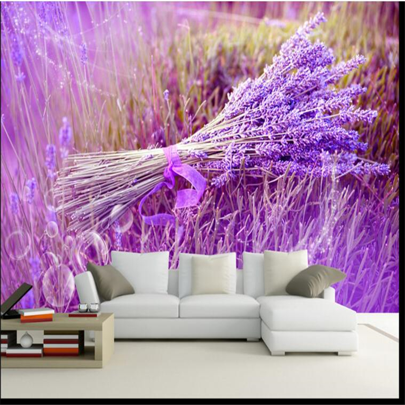 Beibehang Custom Wallpaper Purple Romantic Lavender Flowers Sea Modern 3D Wallpaper With Minimalist Background Wallpaper