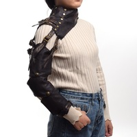 Unisex Steampunk Armor Single Shoulder Long Leather Buckle Gothic Arm Warmer