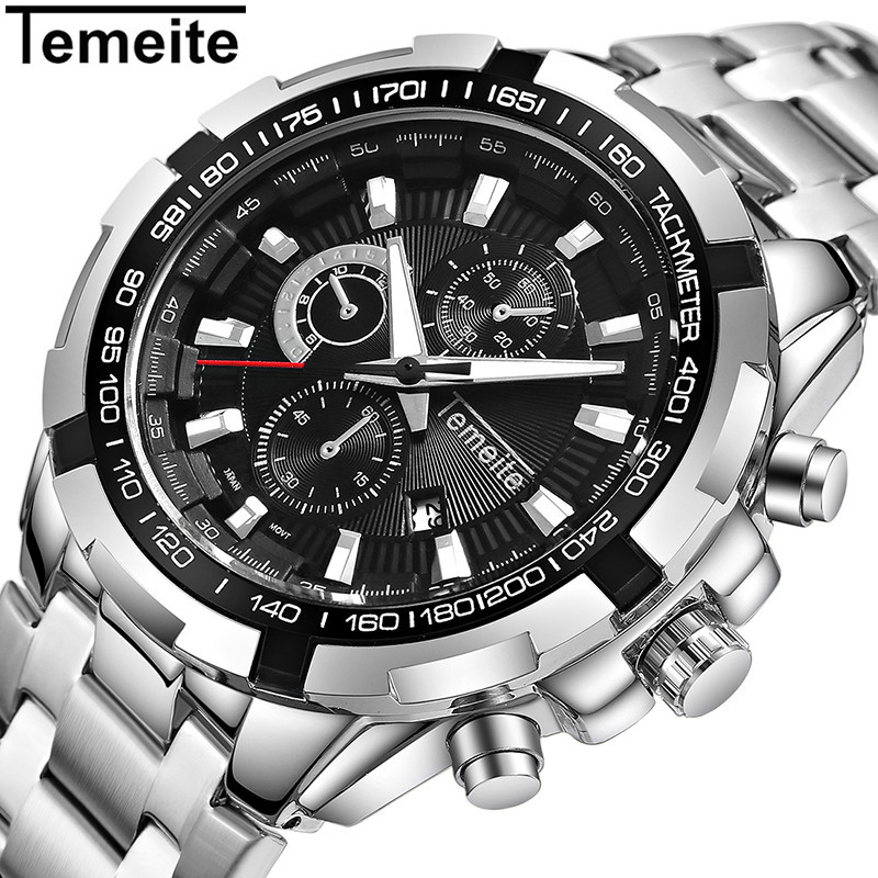 Temeite Men's Watches Stainless Steel Top Brand Sport Watch For Men Luxury Casual Wristwatch Male Quartz Watch Waterproof Clock men watches top brand luxury day date luminous hours clock male black stainless steel casual quartz watch men sports wristwatch