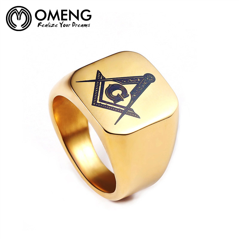 OMENG Hip-Hop Fashion Silver Gold Black Mens Rings Jewelry Freemasonry Masonic Stainless Steel Finger Ring for men OJZ048