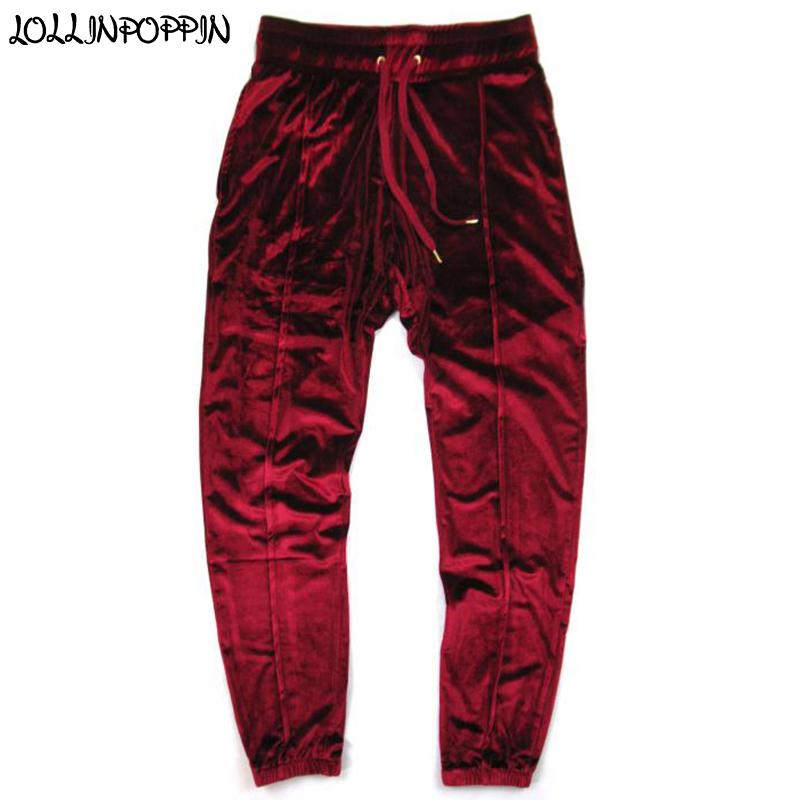 Men Velvet Pants Velour Trackpants Drawstring Elastic Waist Hip Hop Streetwear Mens Wine Red Jogger Pants Front Pleated Design Aliexpress
