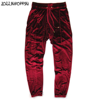Men Velvet Pants Velour Trackpants Drawstring Elastic Waist Hip Hop Streetwear Mens Wine Red Jogger Pants Front Pleated Design